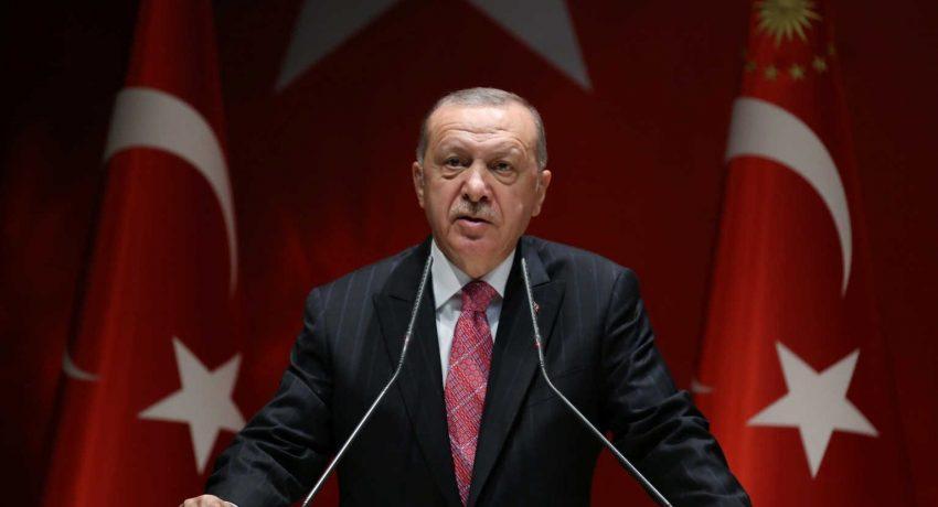 Turkish President Erdogan speaks during a meeting of his ruling AKP in Ankara