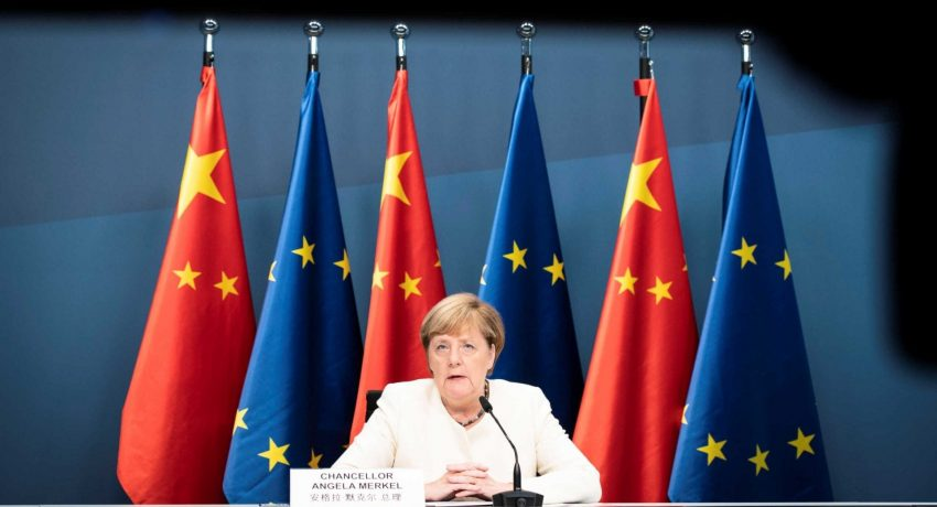 German Chancellor Merkel during a video conference with European Council President Charles Michel, European Commission President Ursula von der Leyen and China's President Xi Jinping