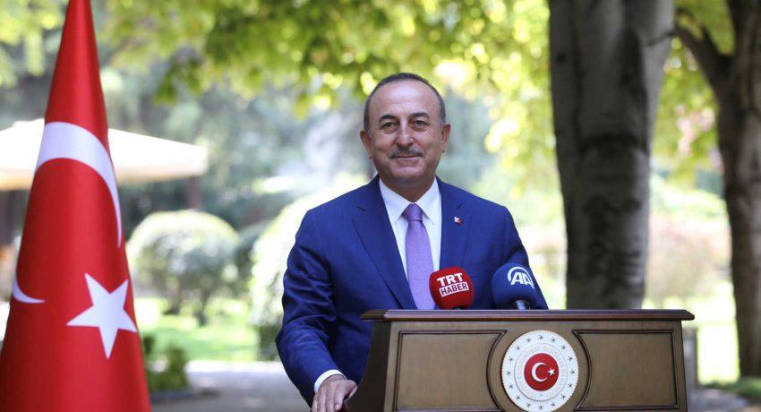 Turkish Foreign Minister Cavusoglu speaks to the media in Ankara