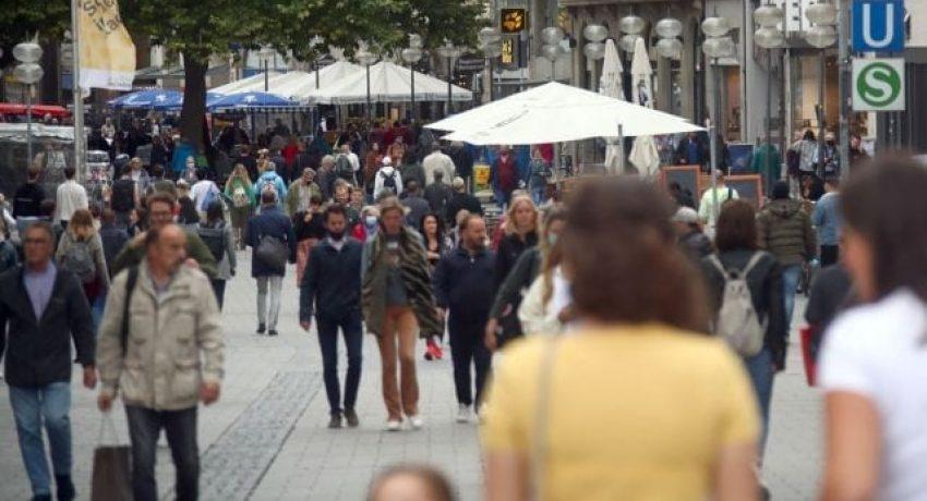 People stroll downtown in Munich