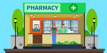 Pharmacy concept with medical drugstore building indoors flat vector illustration