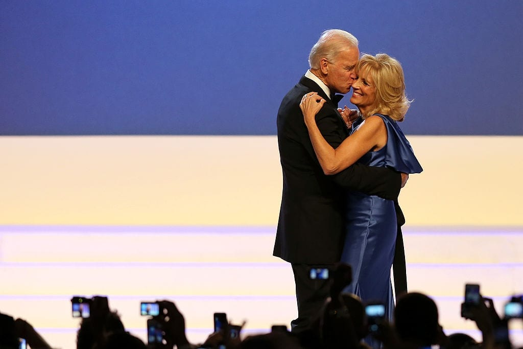 WASHINGTON, DC - JANUARY 21:  U.S. Vice President Joe Biden and Dr. Jill Biden dance during the Public Inaugural Ball at the Walter E. Washington Convention Center on January 21, 2013 in Washington, DC. President Obama was sworn in for his second term earlier in the day.  (Photo by Mario Tama/Getty Images)