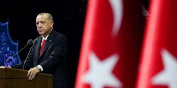 Turkish President Tayyip Erdogan makes a speech during a meeting in Ankara, Turkey October 26, 2020. Presidential Press Office/Handout via REUTERS ATTENTION EDITORS - THIS PICTURE WAS PROVIDED BY A THIRD PARTY. NO RESALES. NO ARCHIVE.