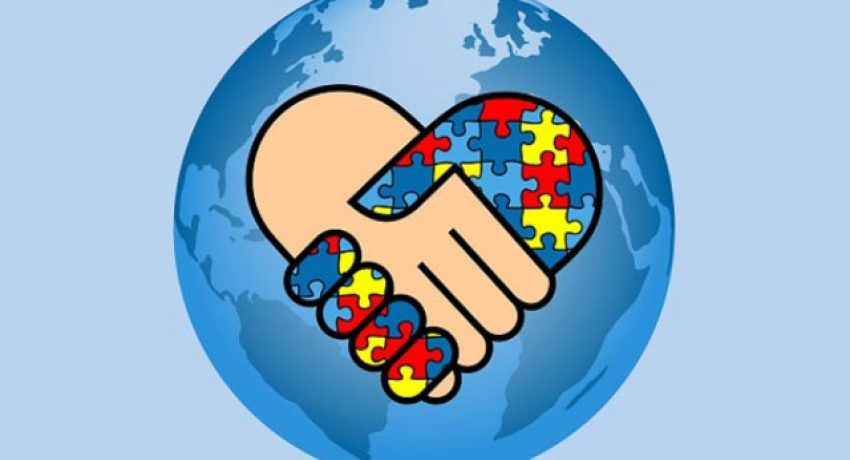 Autism awareness day design with globe and hands