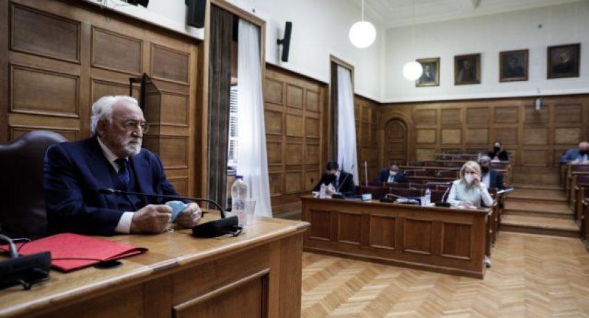 Συνεδρίαση της Ειδικής Κοινοβουλευτικής Επιτροπής προς διενέργεια προκαταρκτικής εξέτασης σχετικά με τη διερεύνηση αδικημάτων που τυχόν έχουν τελεσθεί από τον πρώην Υπουργό Νίκο Παππά κατά την άσκηση των καθηκόντων του, την Δευτέρα 17 Μαΐου 2021. (EUROKINISSI/ΓΙΩΡΓΟΣ ΚΟΝΤΑΡΙΝΗΣ)