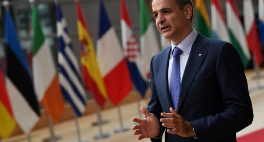 Greece's Prime Minister Kyriakos Mitsotakis addresses the media as he arrives on the first day of the European Union summit at The European Council Building in Brussels, Belgium June 24, 2021. John Thys/Pool via REUTERS