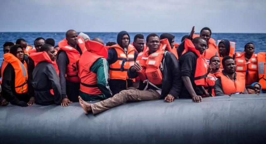 epa07082588 YEARENDER MAY 2018 Refugees on a rubber dinghy are rescued by members of the NGO 'SOS Mediterranee' from the 'Aquarius' vessel during an operation to rescue migrants, about 50 kilometers off the Libyan coast, in the Mediterranean Sea, 18 April 2018. Approximatly 100 people, mostly from western Africa, were rescue by the Aquarius crew after leaving the Libyan coast 10 hours before.  EPA/CHRISTOPHE PETIT TESSON