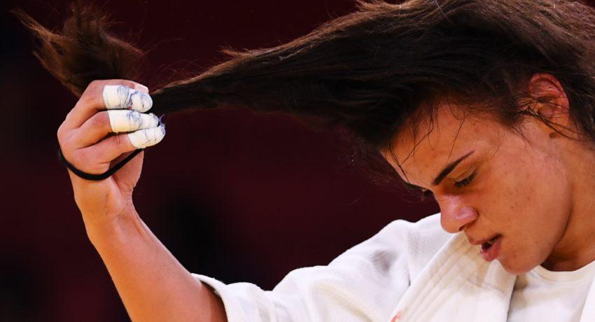 Tokyo 2020 Olympics - Judo - Women's 70kg - Repechage Round - Nippon Budokan - Tokyo, Japan - July 28, 2021. Elisavet Teltsidou of Greece during the match REUTERS/Annegret Hilse