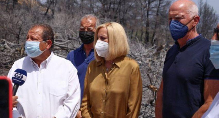 Η Πρόεδρος του Κινήματος Αλλαγής, Φώφη Γεννηματά περιόδευσε σήμερα στις πληγείσες από τις πρόσφατες πυρκαγιές περιοχές της Αχαΐας. Στην περιοδεία συμμετείχαν ο πρώην πρωθυπουργός και βουλευτής Αχαΐας, Γιώργος Παπανδρέου, καθώς και τοπικά στελέχη του Κινήματος. Κατά την περιοδεία της, η Φώφη Γεννηματά επισκέφθηκε το Δήμο Αιγιαλείας, όπου συναντήθηκε και ενημερώθηκε από τον δήμαρχο κ. Δημήτρη Καλογερόπουλο, τους επικεφαλής των Δημοτικών Παρατάξεων και συμβούλους.  Κατόπιν, επισκέφθηκε την πυρόπληκτη περιοχή στη Ζήρια και στη συνέχεια συναντήθηκε με πυροσβέστες, αξιωματικούς και στελέχη της ΕΜΑΚ. Ακολούθως, η Φώφη Γεννηματά συναντήθηκε με τον επικεφαλής της αντιπολίτευσης της Περιφέρειας Δυτικής Ελλάδας, κ. Απόστολο Κατσιφάρα και στελέχη της Περιφερειακής Παράταξης. Τέλος, η Πρόεδρος του Κινήματος Αλλαγής συναντήθηκε με τον Δήμαρχο Ερυμάνθου-Χαλανδρίτσας, κ. Θεόδωρο Μπαρή, τους επικεφαλής των Δημοτικών Παρατάξεων και συμβούλους. (EUROKINISSI/ΚΙΝΗΜΑ ΑΛΛΑΓΗΣ)