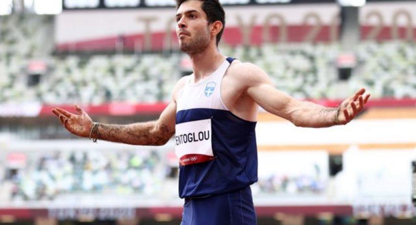 Tokyo 2020 Olympics - Athletics - Men's Long Jump - Final - Olympic Stadium, Tokyo, Japan - August 2, 2021. Miltiadis Tentoglou of Greece reacts. REUTERS/Andrew Boyers
