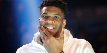 Milwaukee Bucks forward Giannis Antetokounmpo gestures as he attends the Paris Ring basketball tournament ahead of the NBA Paris Game 2020 in Paris, France January 22, 2020. REUTERS/Gonzalo Fuentes
