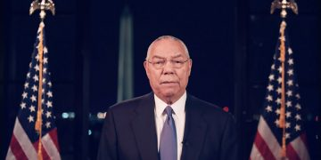 epa08611931 A framegrab from the Democratic National Convention Committee livestream showing former US Secretary of State Colin Powell speaking during the second night of the 2020 Democratic National Convention in Milwaukee, Wisconsin, USA, 18 August 2020. The convention, which was expected to draw 50,000 people to the city, is now taking place virtually due to coronavirus pandemic concerns.  EPA/DNCC
